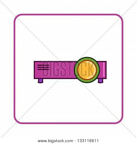 Projector icon in simple style on white background. Device symbol