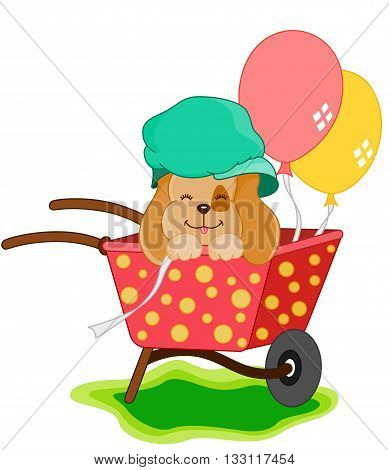 Scalable vectorial image representing a cute dog with balloons, isolated on white.