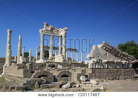 Akropol in Bergama in Izmir at Turkey