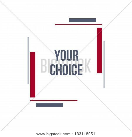 Constructive frame. Flat frame. Abstract shape. Vector modern frame. Material design red frame. Line backgroung