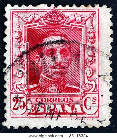 SPAIN - CIRCA 1922: a stamp printed in the Spain shows Alfonso XIII King of Spain circa 1922
