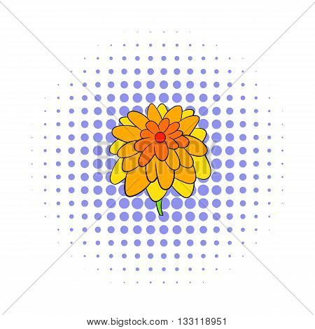 Calendula flower icon in comics style isolated on white background