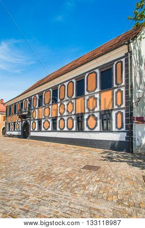 Beautiful Sermage palace in the center of old baroque town of Varazdin, Croatia