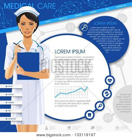 Medical template with a nurse girl, round frames and icons. Medical care web design. Vector Illustration