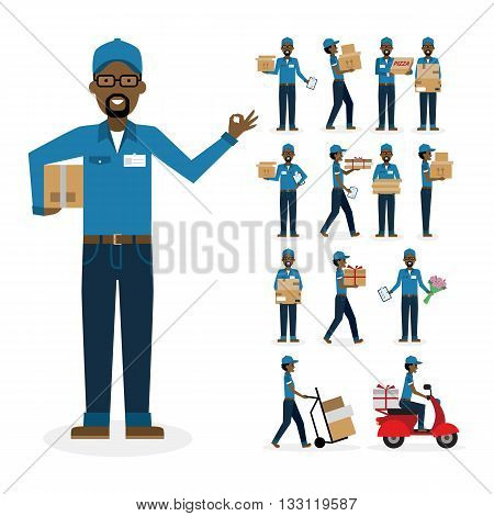 African american postman set. Isolated african american cartoon character. White background. Driver boxes clipboard pizza gift and more