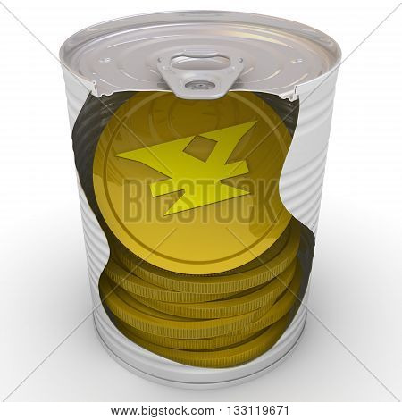 Gold coins with the symbol of the Japanese currency inside a tin can. Cash reserve funds. Concept. Isolated. 3D Illustration