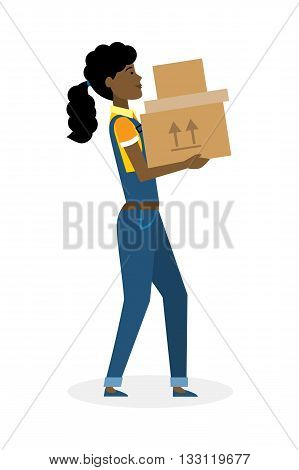 Delivery woman with parcel. Fast transportation. Isolated african american cartoon character on white background. Postwoman, courier with package. Concept of online shopping and moving.