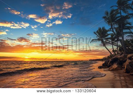 Punta Cana Sunrise , Landscape Of Paradise Tropical Beach
