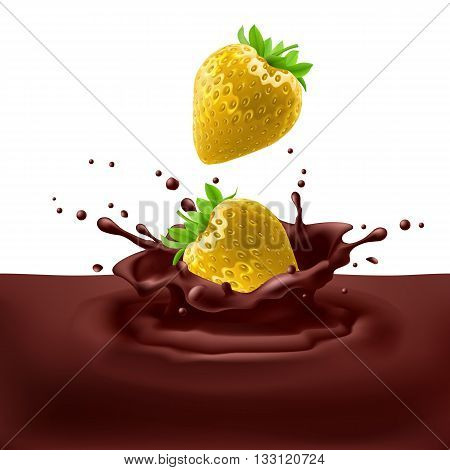 Appetizing yellow strawberries dipping into chocolate with splashes