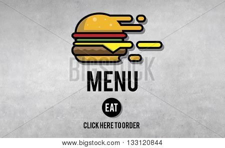 Menu Restaurant Order Now Online Burger Fast Food Concept