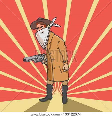 Wild west robber with gun hand drawn vector illustration