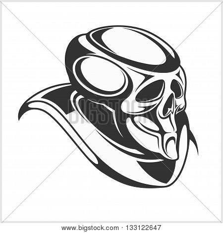 Cyborg - Robot skull isolated black on white