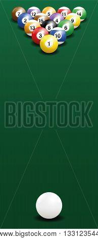 Billiard break shot - start position. Three-dimensional vector illustration on green gradient background.