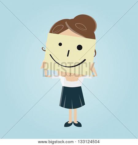 businesswoman with smiley note over her face