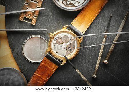 Mechanism of retro watch closeup