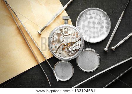 Mechanism of pocket clock closeup