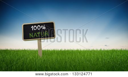 Ground level perspective on one hundred percent natural sign stuck in turf grass with clear blue sky background. German Language. 3d Rendering.