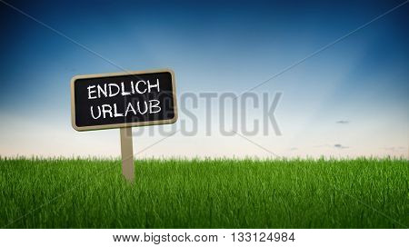 Single black chalkboard sign with white holiday relief text in green grass under clear blue sky background. German Language. 3d Rendering.