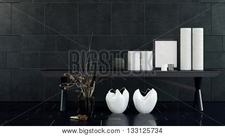 Interior Still Life of Modern Table with White Vases, Candles and Frame in Spacious Room with Decorative Dried Flower Arrangement and Black Tile Floor and Walls. 3d rendering