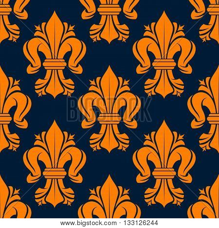 Bright orange victorian fleur-de-lis pattern with seamless motif of leaf scrolls compositions decorated by flourishes on dark blue background. Use as vintage fabric print or interior accessories design