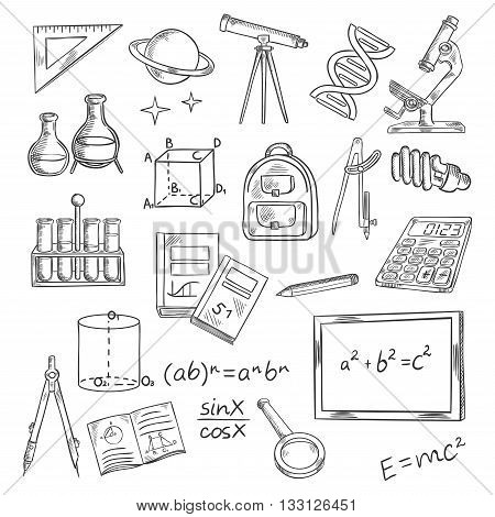 Education and knowledge themed sketch symbols of blackboard with formulas, books and notebooks, pen and ruler, calculator, microscope and telescope, laboratory tubes and flasks, DNA and planet with stars, backpack and light bulb, magnifier and compasses