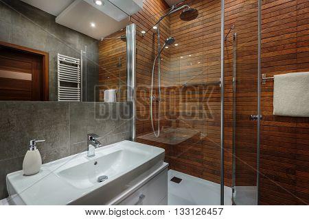 Wooden Wall In Bathroom