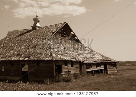 a random barn that is still standing