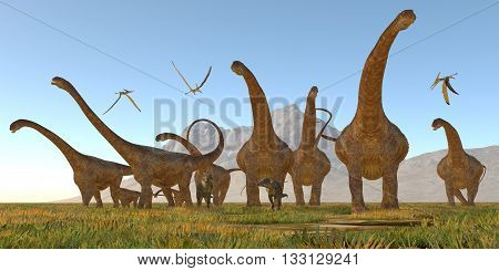 Malawisaurus Dinosaurs - Two Dracorex dinosaurs walk with a Malawisaurus herd for protection as Pteranodon reptiles fly over. 3D illustration