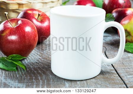 Coffee mug mockup with apples. White mug mockup. Mug Product Mockup. Styled mockup. Product mockup. White cup mockup. Cup mockup. Blank mug. Empty Mug Mockup