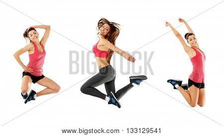 Young sporty woman jumping isolated on white. Collage