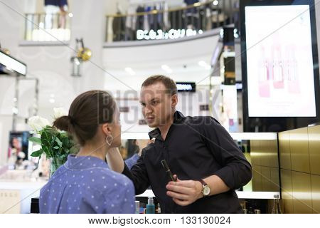ST. PETERSBURG, RUSSIA - MAY 20, 2016: Master class in makeup during the Summer. Style. Festival. The event is dedicated to the 20th anniversary of the Harper's Bazaar magazine in Russia