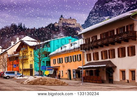 Village and castle Werfen near Salzburg Austria - architecture and nature background