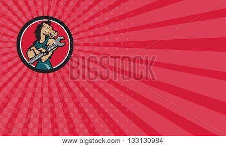 Business card showing illustration of a horse mechanic with arms crossed holding spanner looking to the side set inside circle on isolated background done in cartoon style.
