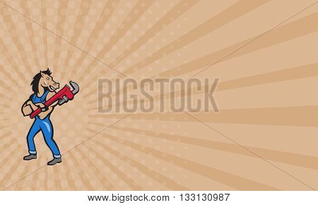 Business card showing illustration of a horse plumber standing with arms crossed holding monkey wrench looking to the side set on isolated white background done in cartoon style.