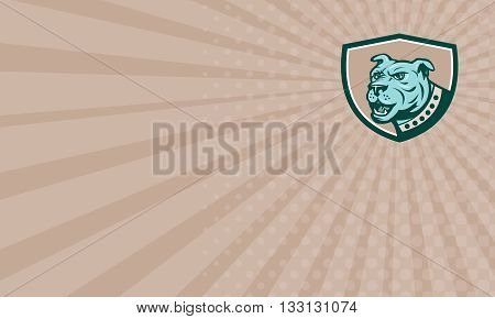 Business card showing illustration of a mastiff dog mongrel viewed from the side set inside shield crest on isolated background done in cartoon style.