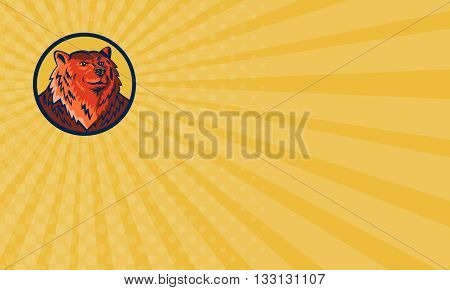 Business card showing illustration of a Russian bear or Eurasian brown bear head viewed from front set inside circle done in retro style.