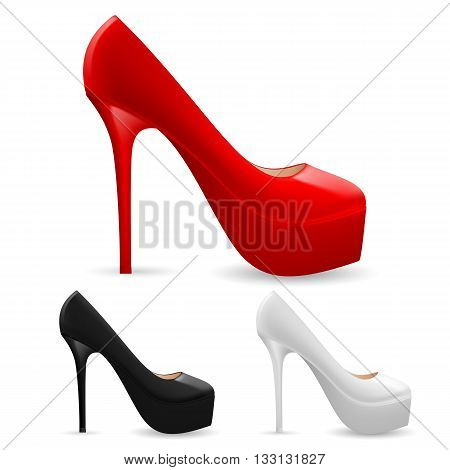 Set of fashionable high heel ladies shoes in three colors