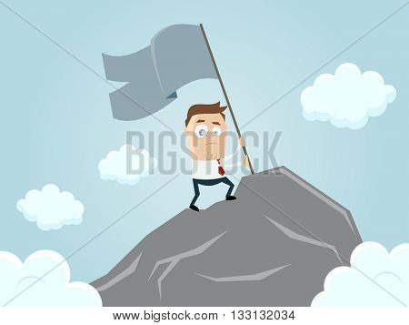 businessman reaching the top of the mountain