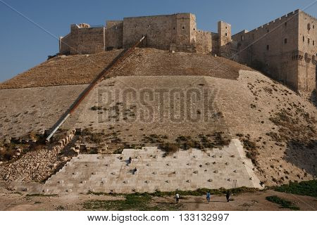 Aleppo, Syria. Old town,  View of the citadel