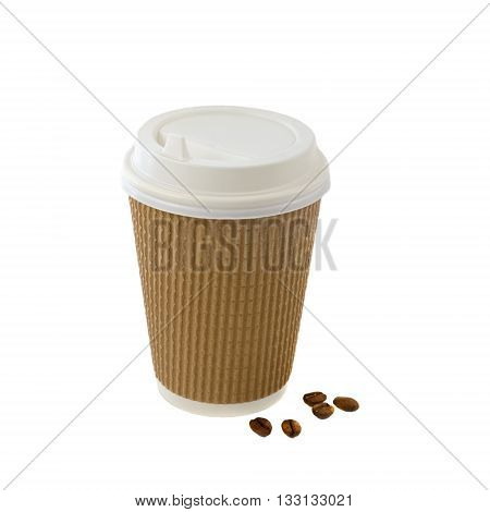 Coffee in brown  take away cup with beans isolated on white background