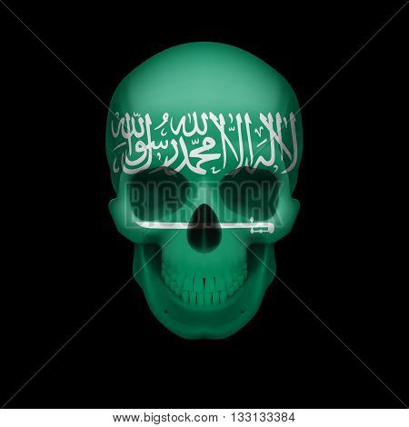 Human skull with flag of Saudi Arabia. Threat to national security war or dying out