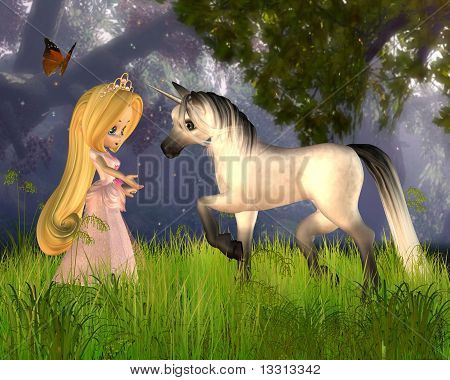 Cute Toon Fairytale Princess and Unicorn
