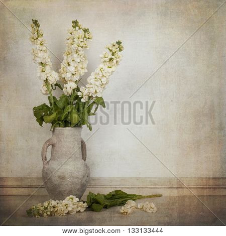 Cream white stock flowers in a cream vase in a vintage style. Space for text.