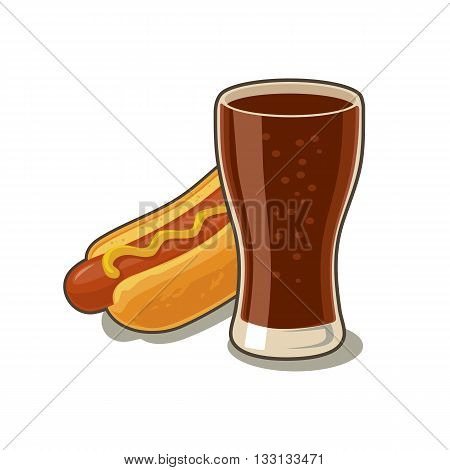 Glass of cola and Hot dog. Isolated on white background with shadow. Vector flat illustration for poster menus web banner icon