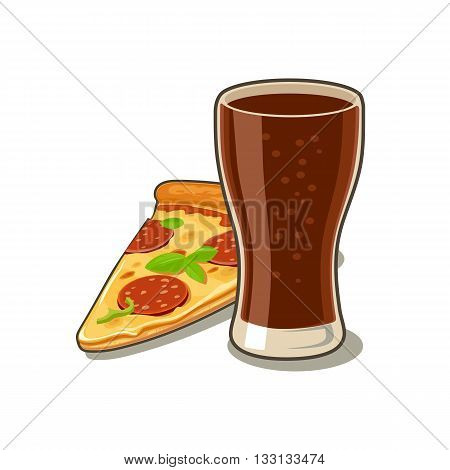 Glass of cola and slices of pizza pepperoni. Isolated on white background with shadow. Vector flat illustration for poster menus web banner icon