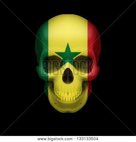 Human skull with flag of Senegal. Threat to national security war or dying out