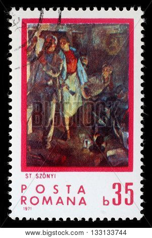 ZAGREB, CROATIA - JULY 18: A stamp printed by Romania, shows poeple reading proclamation, by Stefan Szonyi (1913 - 1966), circa 1971, on September 18, 2012, Zagreb, Croatia