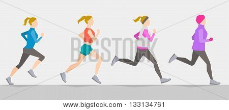 Poses of running girl dressed in different clothes according to seasons. Seasonal trainings. Running at any time and healthy lifestyle concept