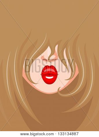 Stylish trendy look of light-skinned and fair-haired girl with red kissing lips. Beauty and fashion concept