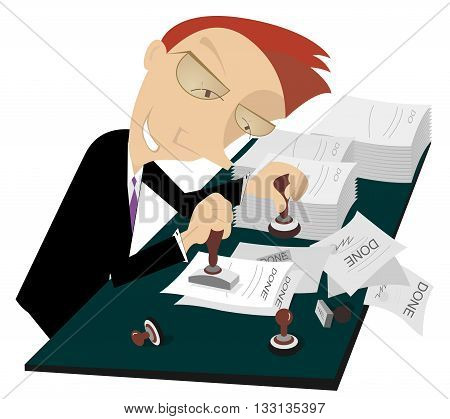 Busy businessman. Cartoon cheerful businessman stamps on documents